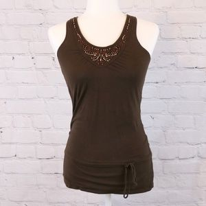 Fossil Brown Racerback Tank with Bead Detail